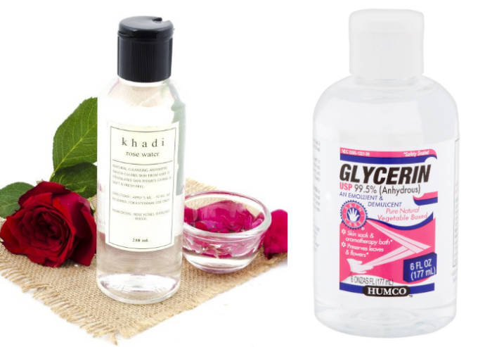 Rose water and glycerin mixture