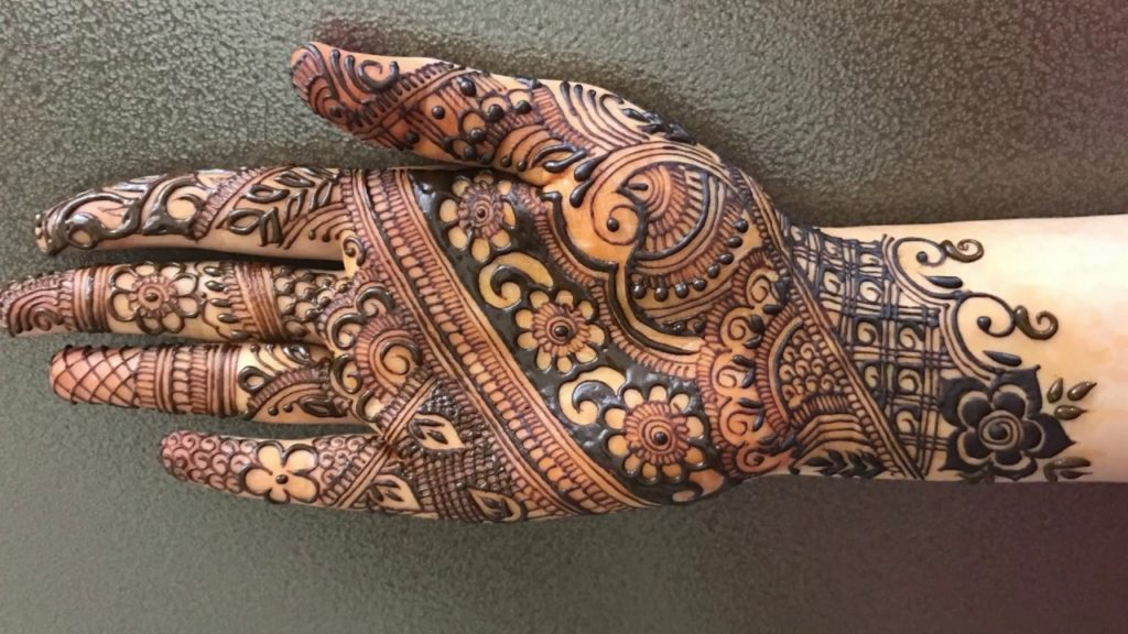 Traditional intricate henna design