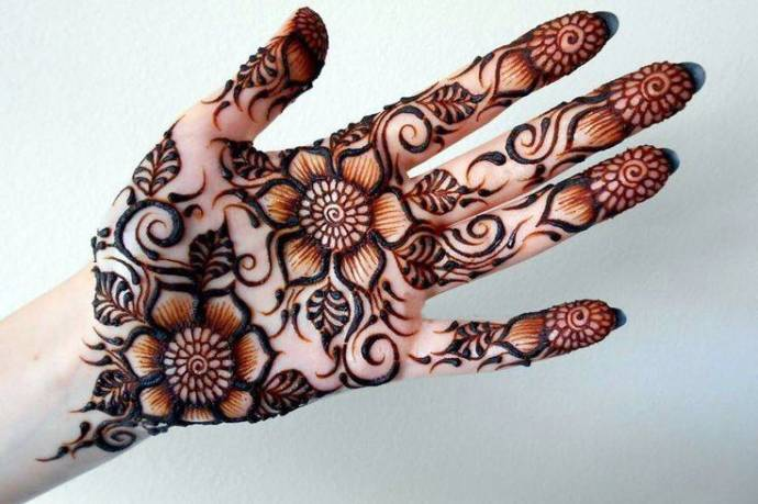 Easy And Simple Henna Designs For Palms Front Hand Mehndi Desgins
