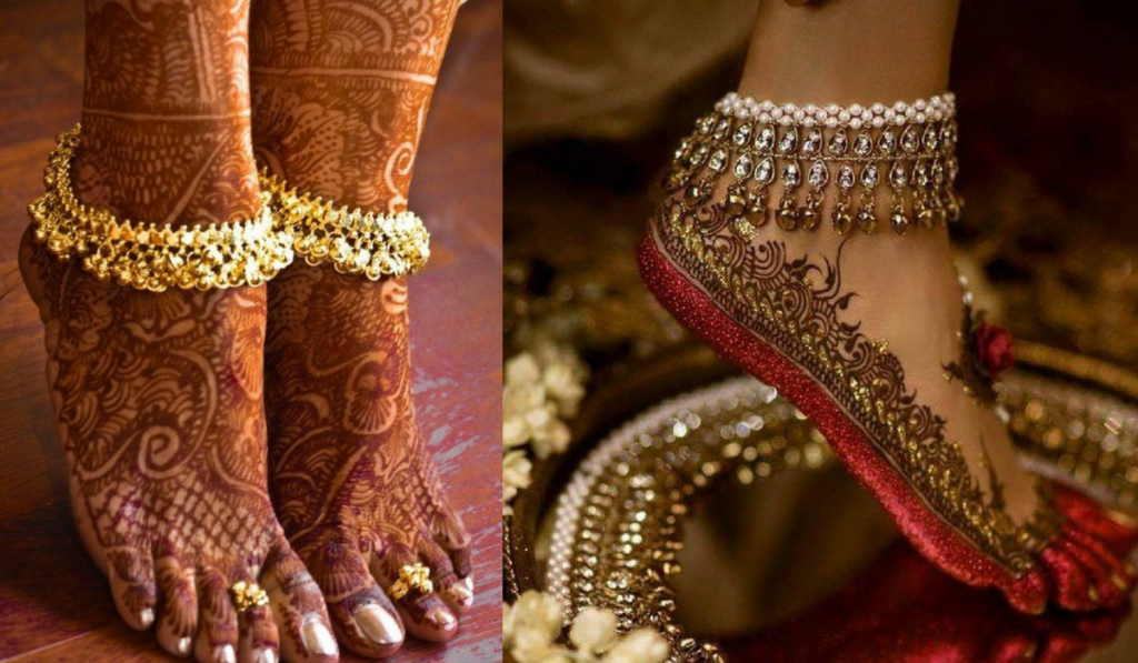 Ankle Length Mehndi Design with strong borders