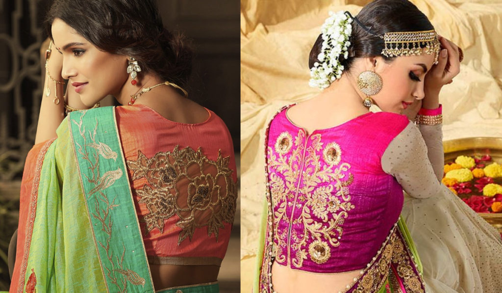 Back embroidery blouse for silk saree