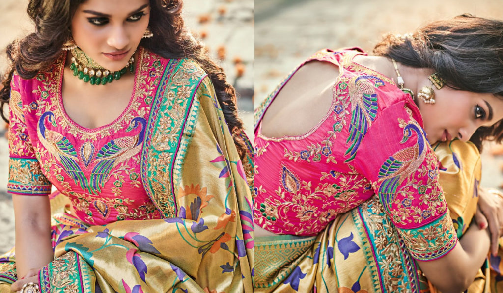 Back open blouse for silk saree