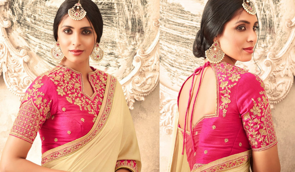 Back string blouse for silk saree