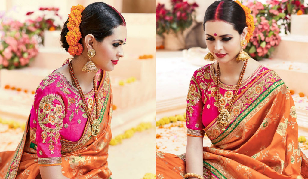 Conventional blouse for silk saree