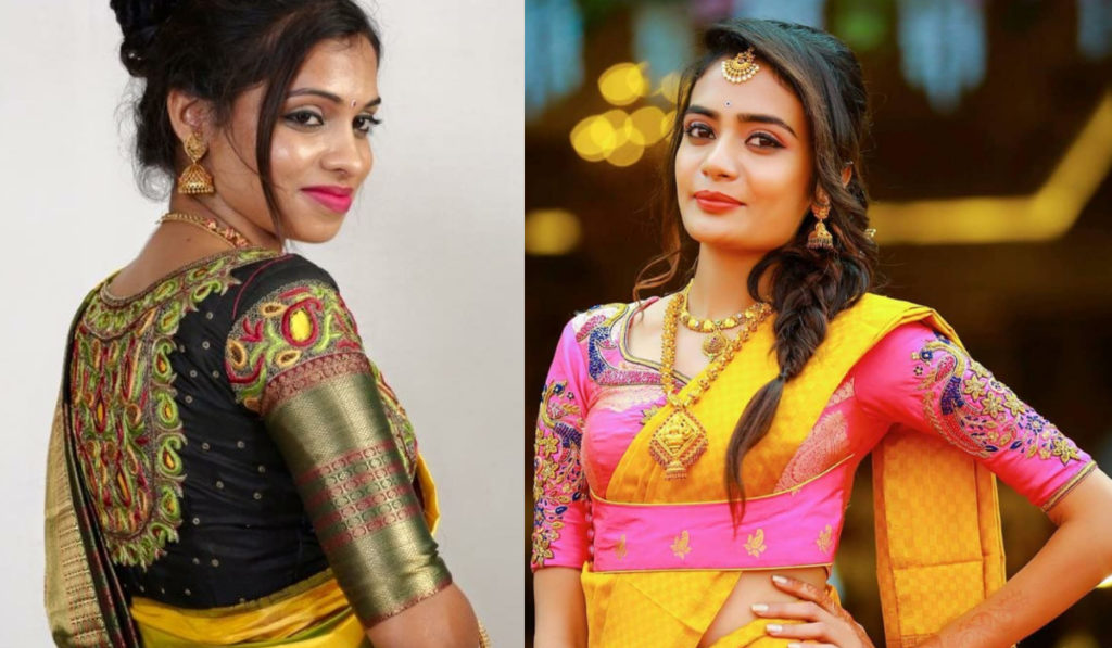 Different pattern blouse for silk saree