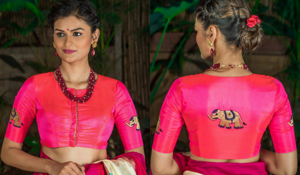 Front open semi sleeved blouse for silk saree