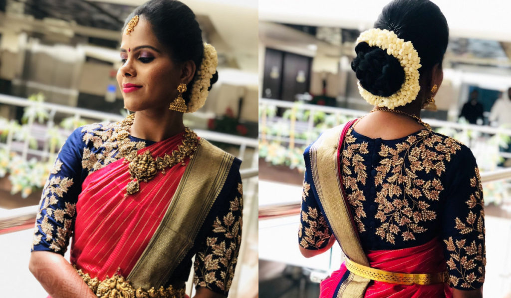 Heavy embroidery blouse for silk saree
