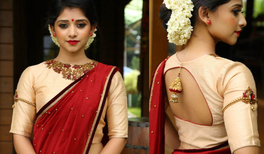 Light shaded back open blouse for silk saree