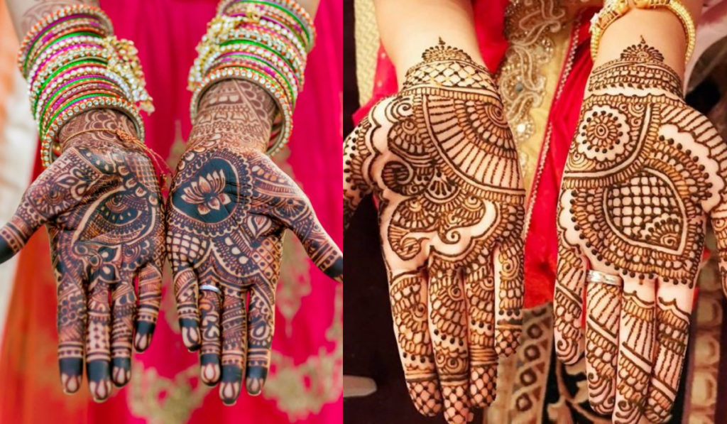 Modern designs with lotus and leaves as Mehendi Design