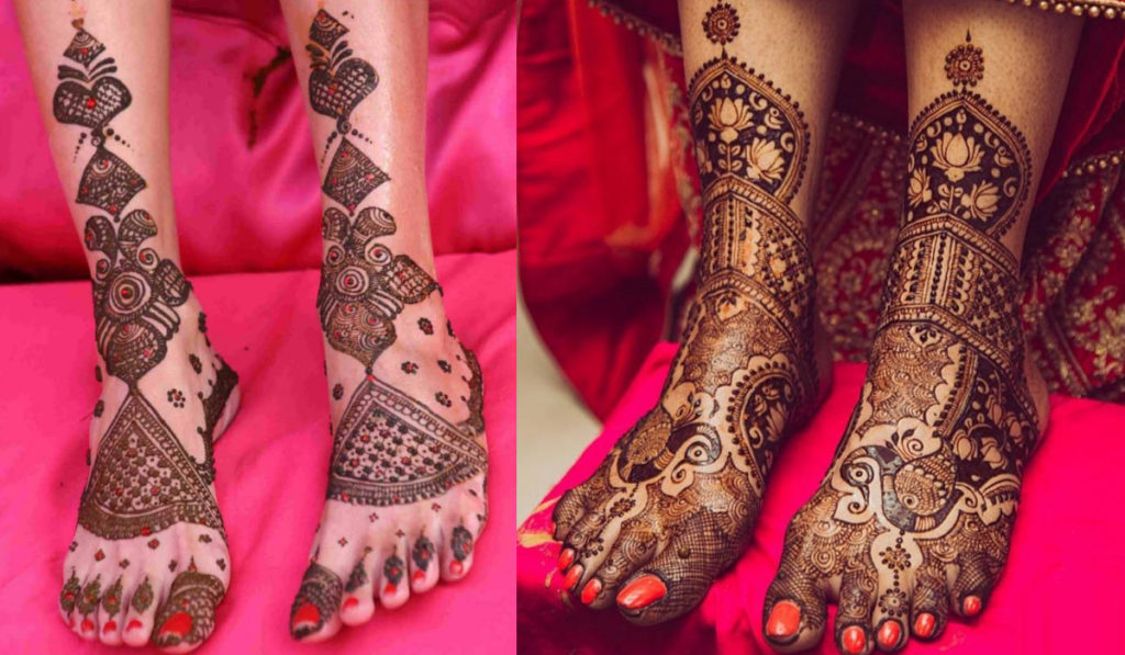 Peacock Mehendi design or the red touch to unique Mehendi designs