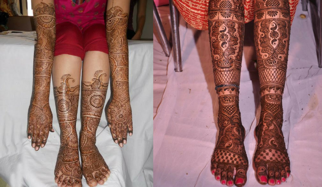 Peacock and String like Pattern as Mehndi Design
