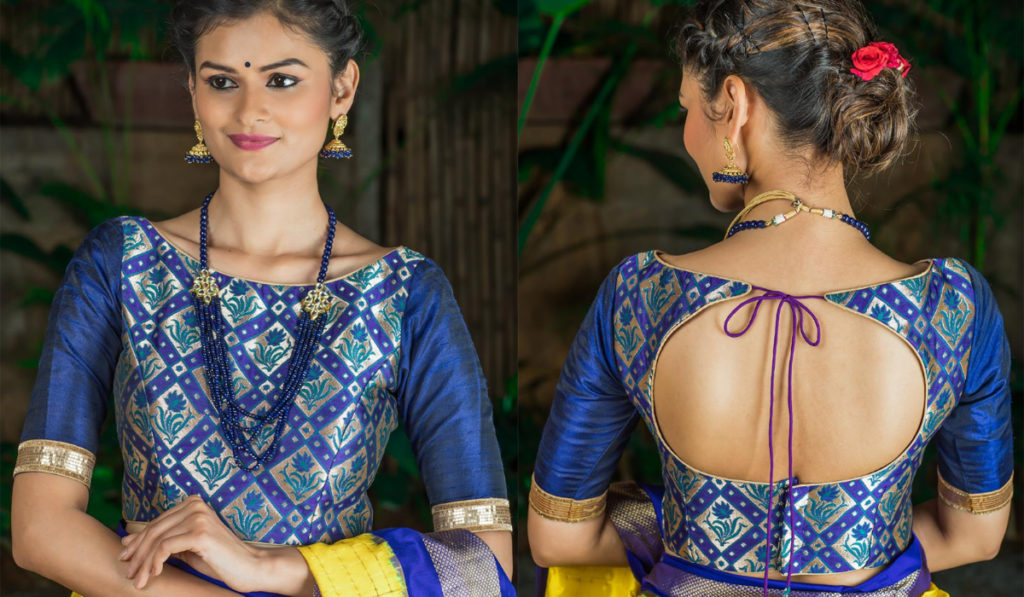 Printed blue blouse for silk saree