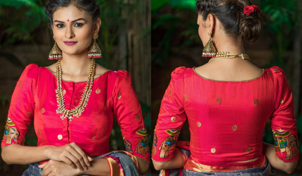 Puff-sleeved blouse for silk saree