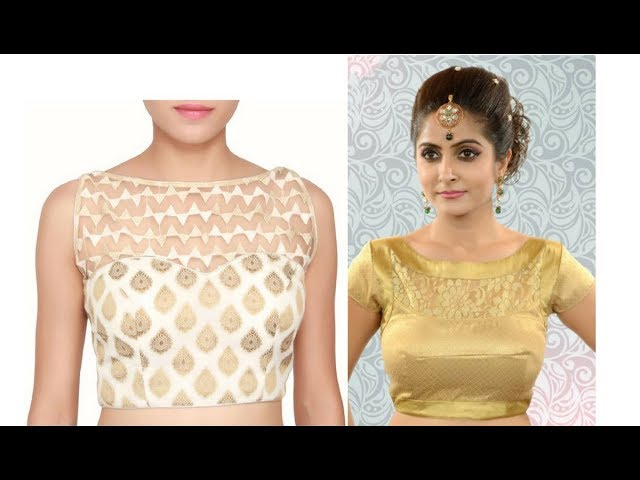 80 Latest Designer Boat Neck Blouse Designs Collection 2019