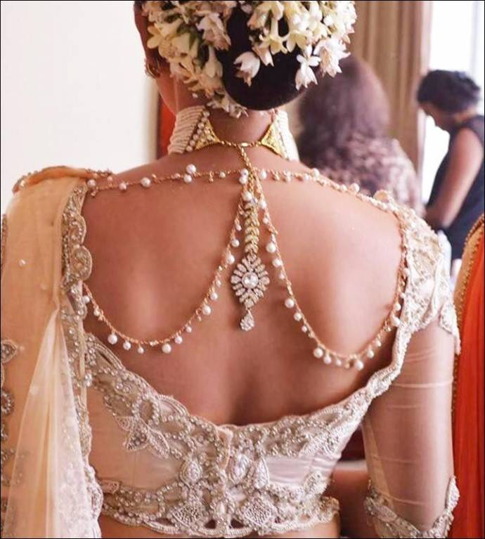 Jewelled back blouse neck design