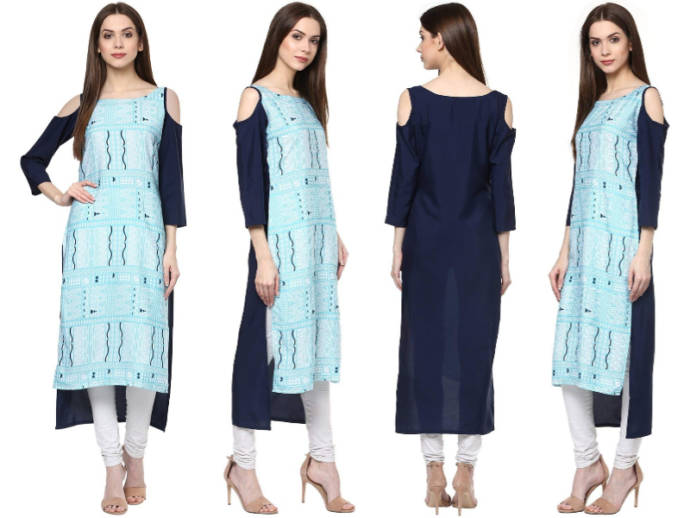 Abstract print blue kurti with high-low design