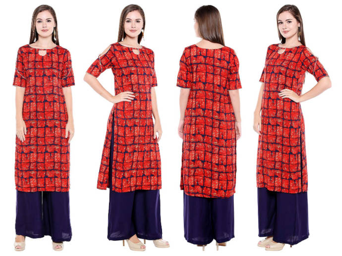 Abstract print checkered red cold shoulder kurti for women