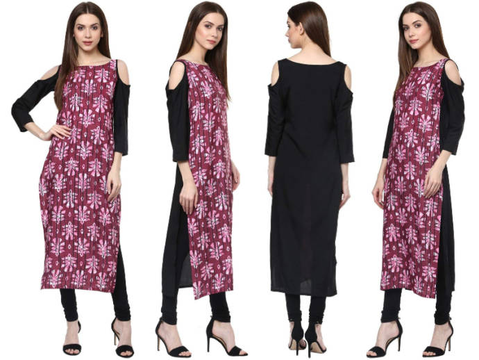 Abstract print kurti with cold shoulder detailing