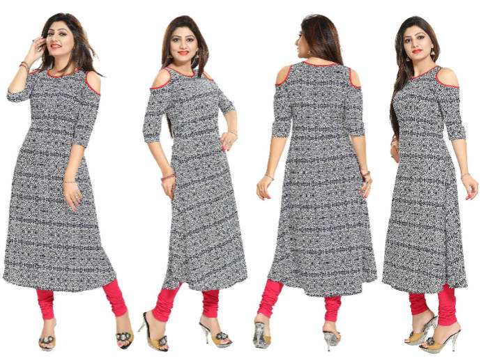 Black and white polka dot kurti with cold shoulder