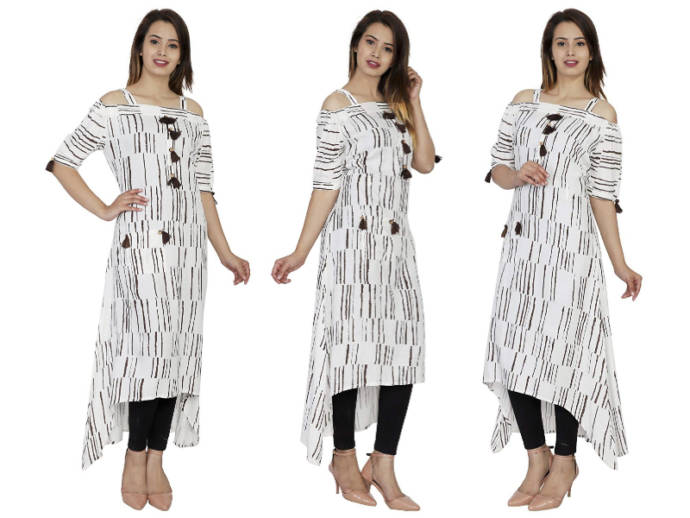 Black and white striped kurti with tassle design and pockets