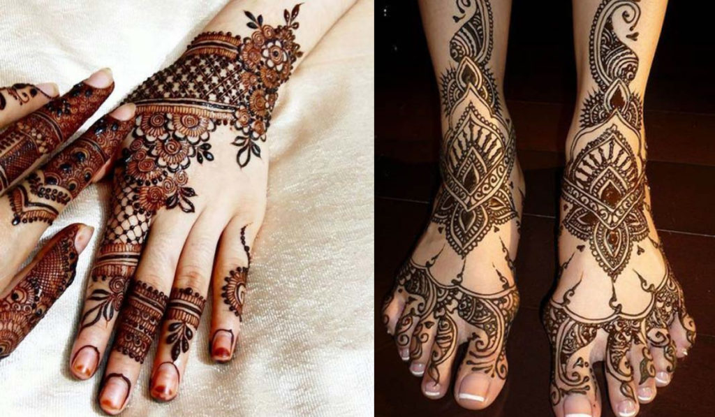 Lace Style and Floral type Mehendi Design