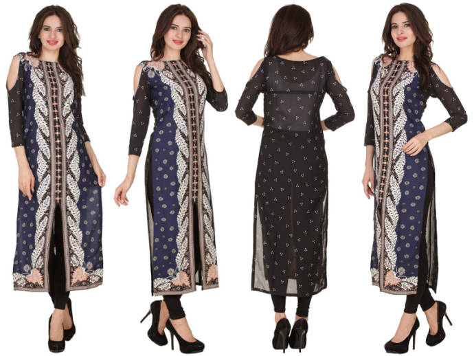 Navy blue kurti with floral design