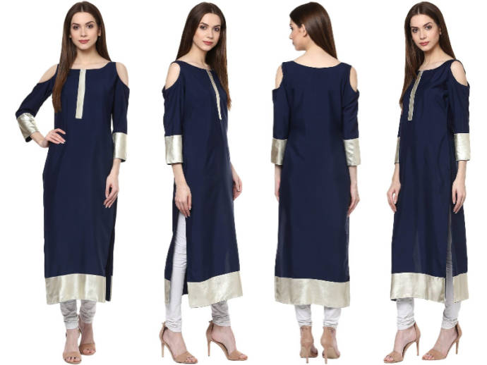 Navy solid cold shoulder kurti with silver panels