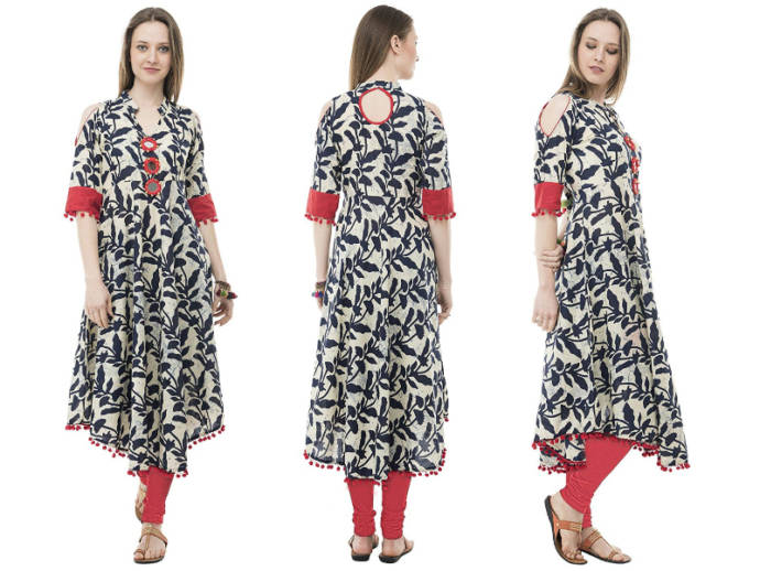 Off white kurti with leaf motif and cold shoulder detail