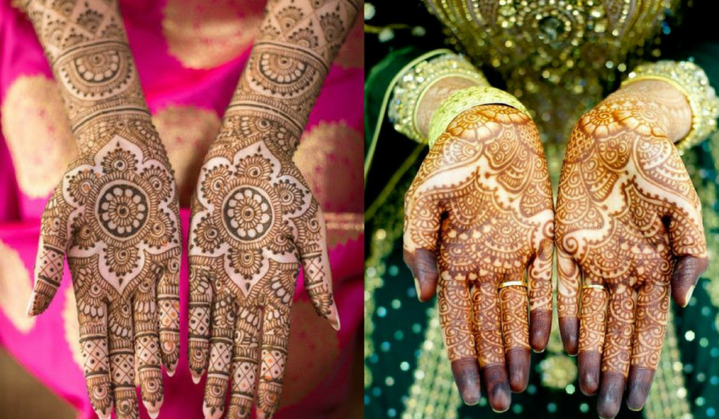 Simple Round Flowers and Box like patterns as Mehendi Design