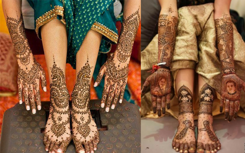 The bridal jewelry leg mehndi