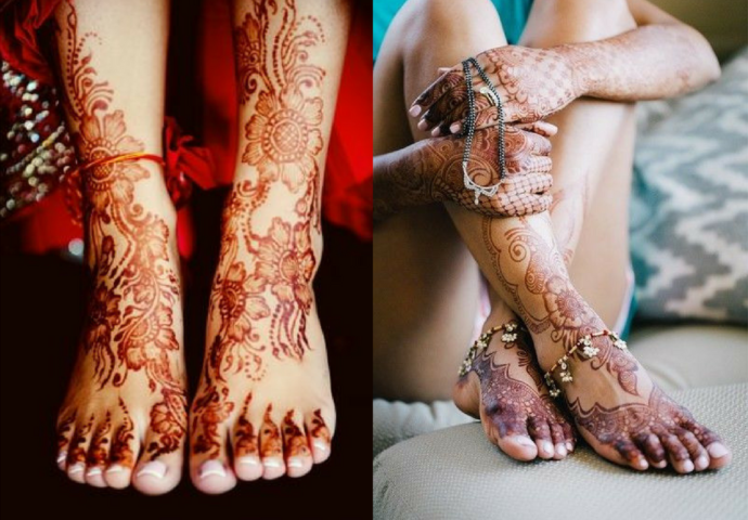 The flower mehndi trail for the leg