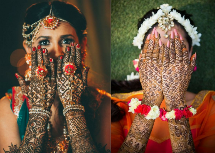 The lattice bridal mehndi design
