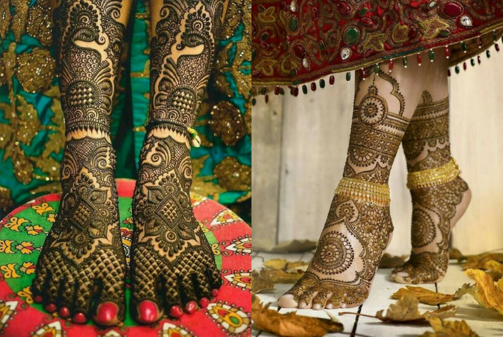 The peacock leg mehndi