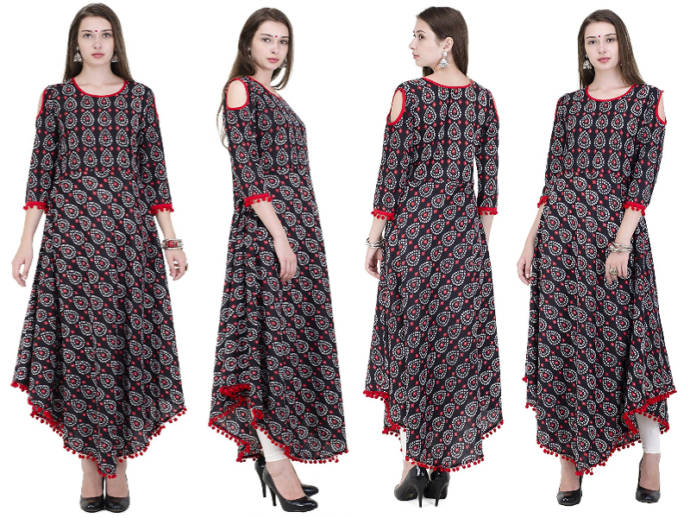 Umbrella style kurti with cold shoulder