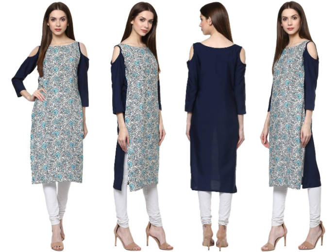 White and navy blue floral printed kurti