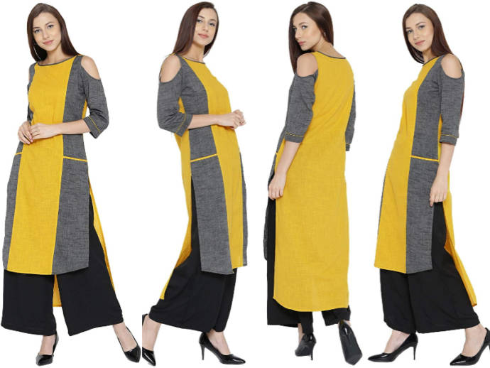 Yellow and grey cold shoulder kurti for women