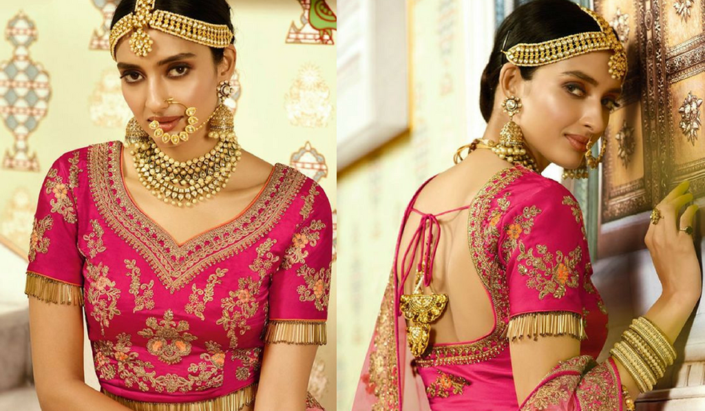 Back string blouse for lehenga choli
