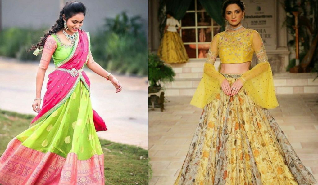 Blouse designs for umbrella pattern lehenga choli