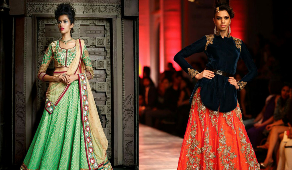 Blouse designs with modal look for lehenga choli