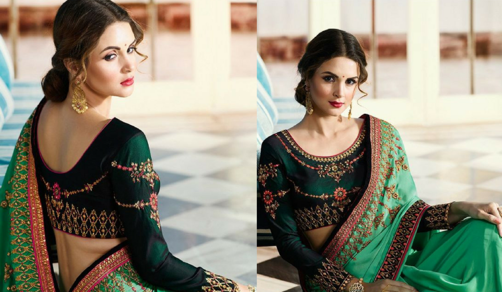 Dark green full sleeved heavy embroidery blouse
