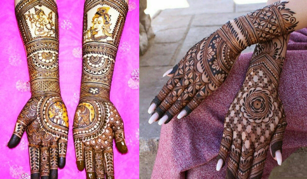 Floral love & Deity Images for full hand Mehendi Design