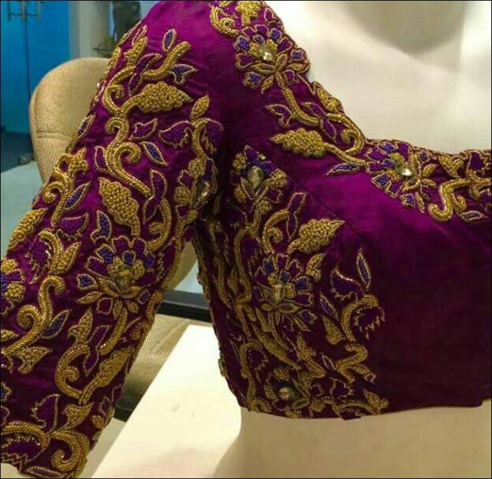 Floral maggam design in zari and threads