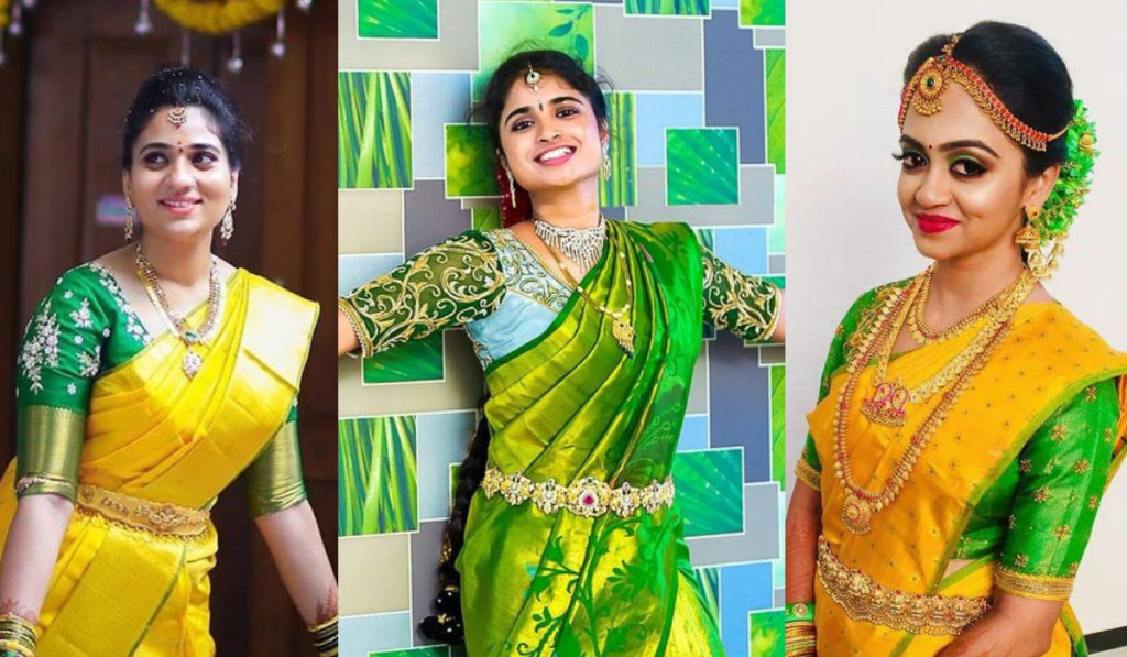 Gorgeous green color blouse for pattu saree