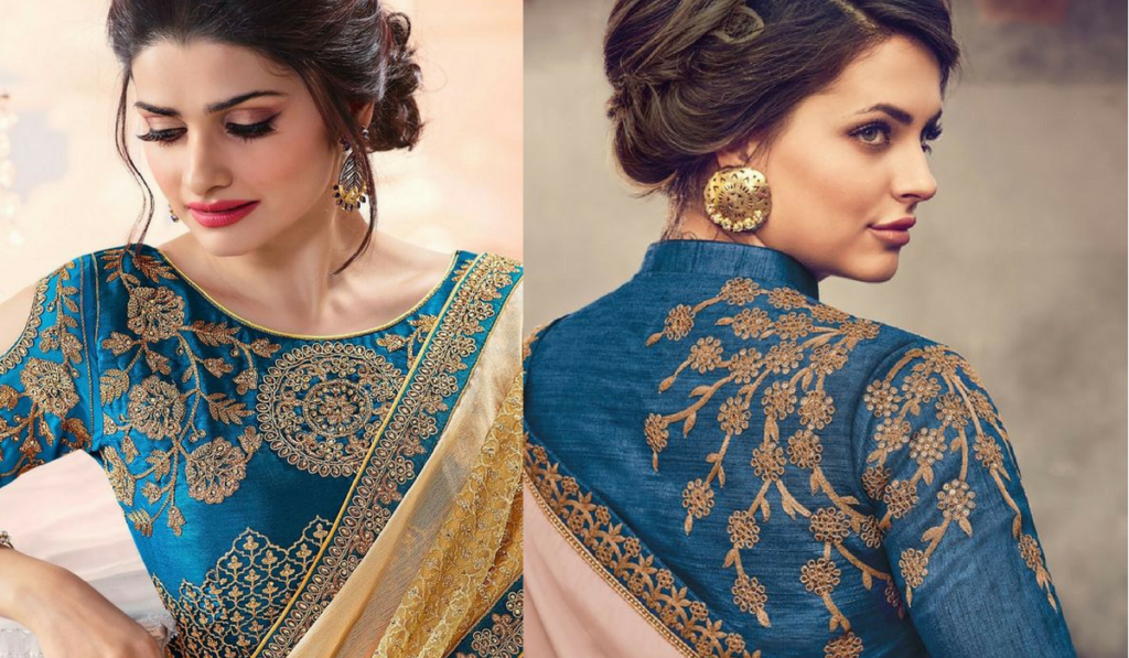 Heavy embroidery in stunning blue color blouse