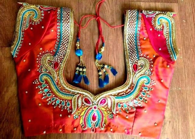 Intricate back border maggam work design in multiple color beads