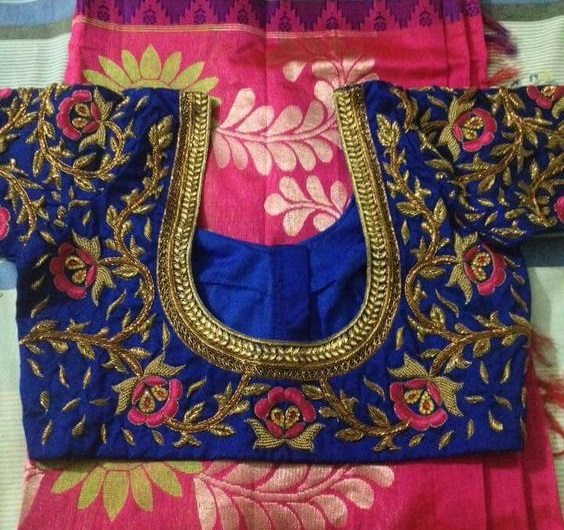 Maggam work blouse neck design with floral vines