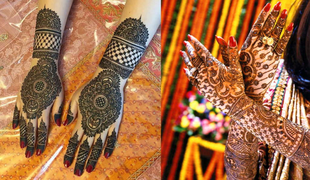 Motif and Peacock heads for Back Hand Mehendi Design