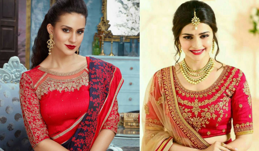 Pretty red color blouse for lehenga choli