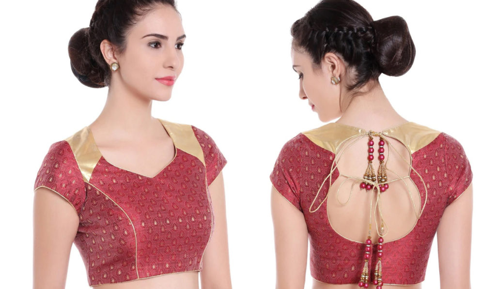 Double string, sweetheart neck blouse