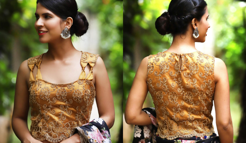 Heavy embroidery, sweetheart neck blouse